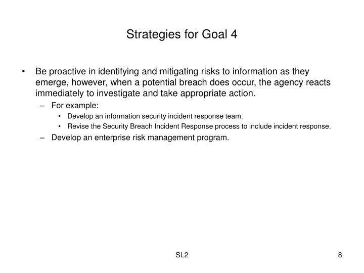 Strategies for Goal 4