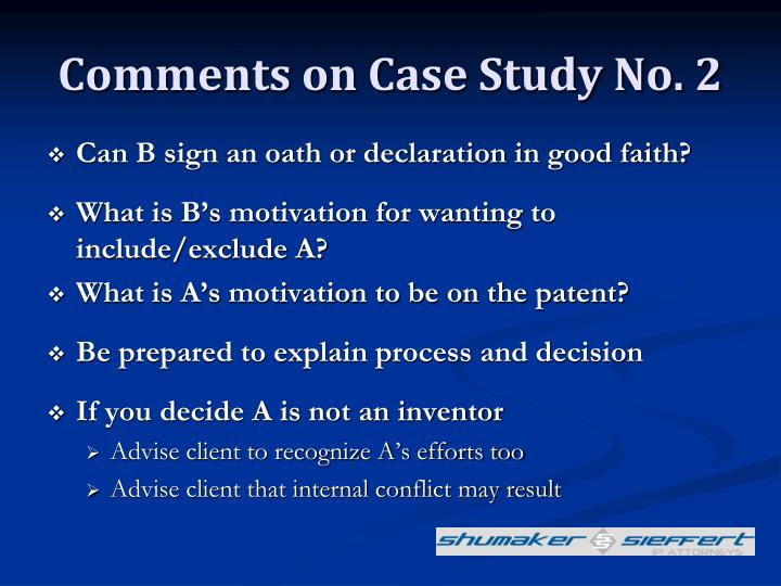 Comments on Case Study No. 2