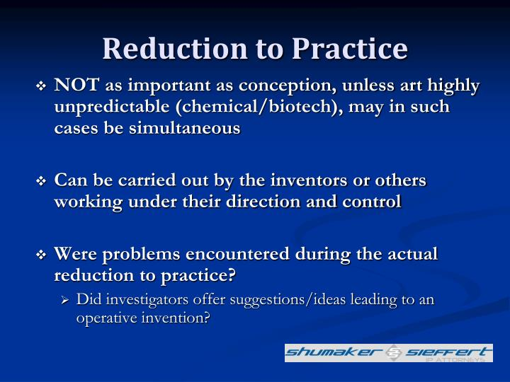 Reduction to Practice