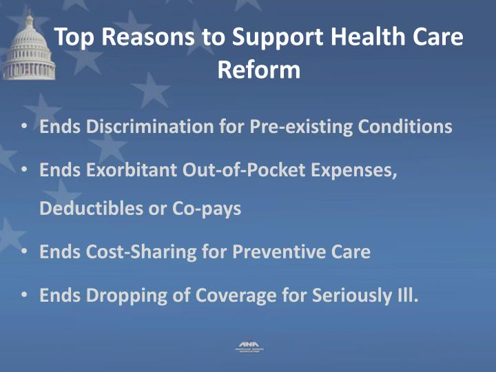 Top Reasons to Support Health Care Reform