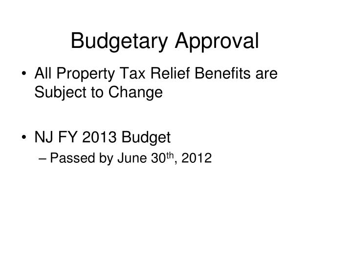 Budgetary Approval