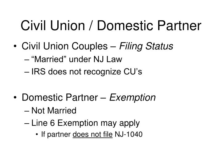 Civil Union / Domestic Partner