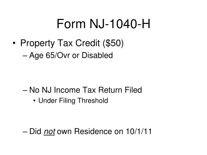 Form NJ-1040-H