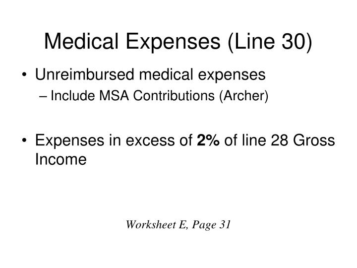 Medical Expenses (Line 30)