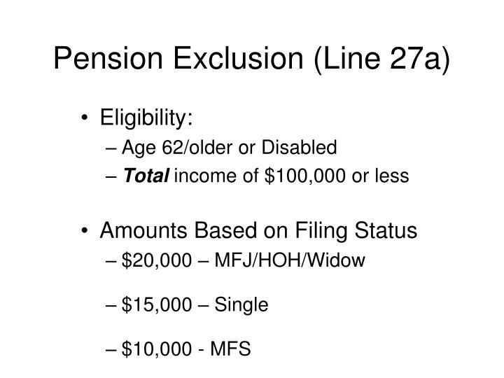 Pension Exclusion (Line 27a)