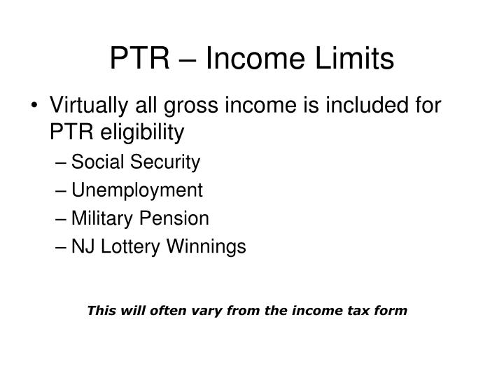 PTR – Income Limits
