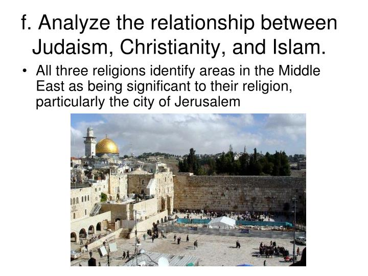 f. Analyze the relationship between Judaism, Christianity, and Islam.
