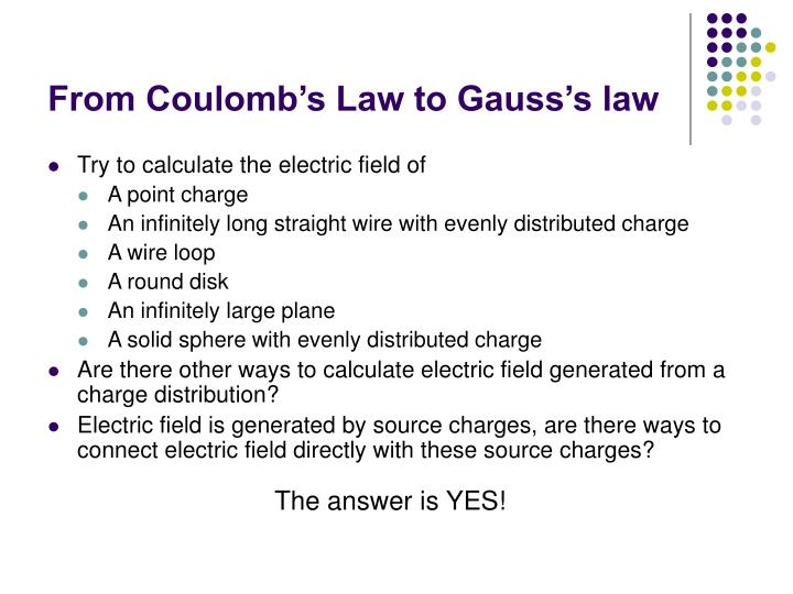 From Coulomb's Law to Gauss's law