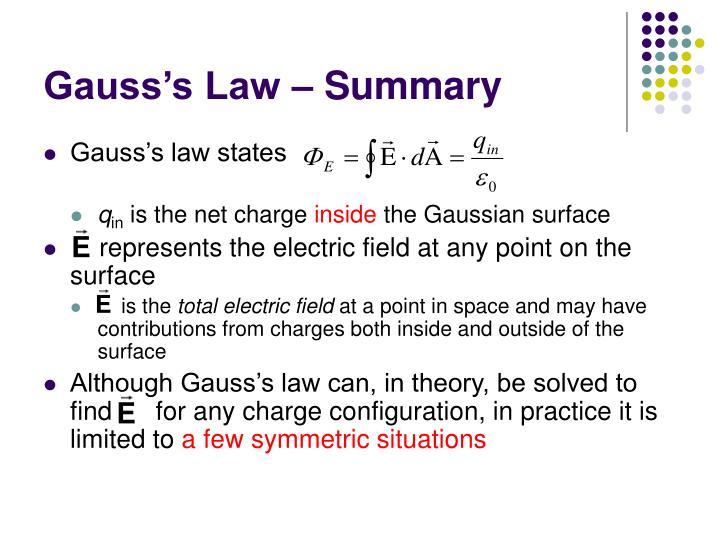 Gauss's Law – Summary
