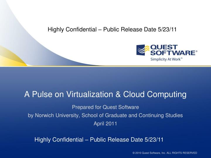 A pulse on virtualization cloud computing