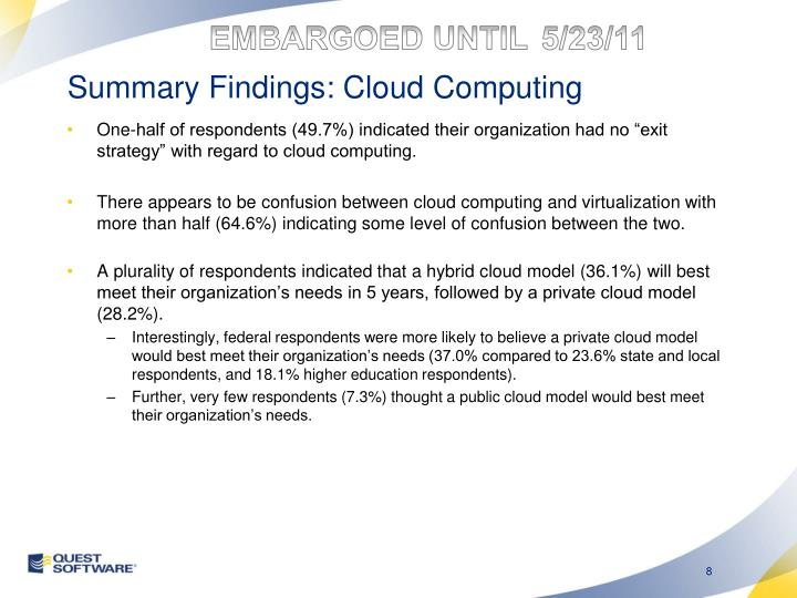 Summary Findings: Cloud Computing