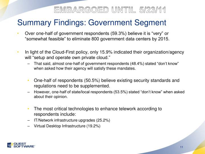 Summary Findings: Government Segment