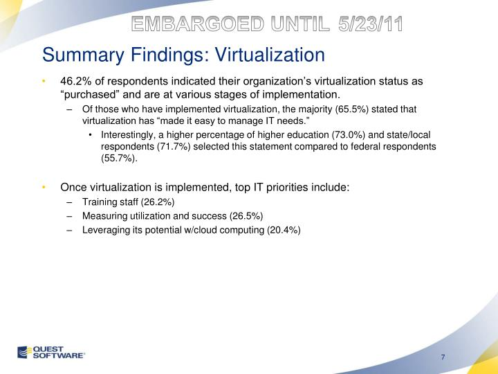 Summary Findings: Virtualization