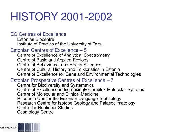 HISTORY 2001-2002