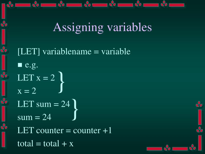 Assigning variables