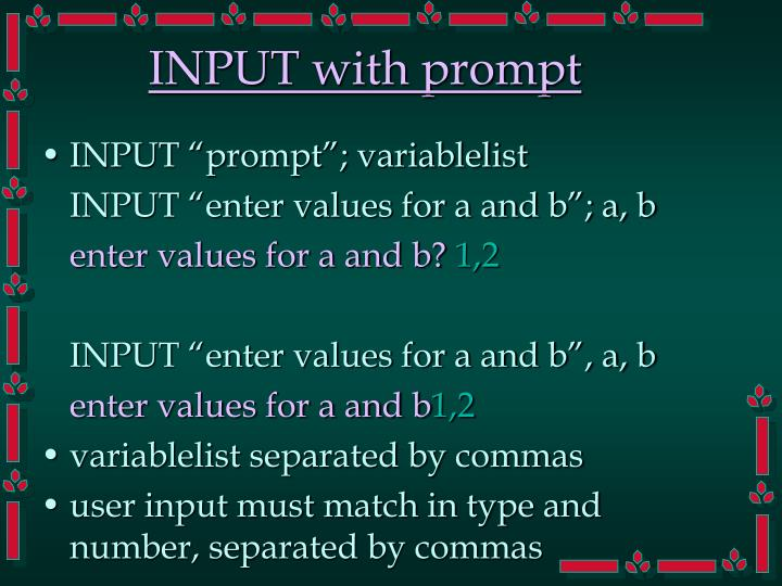 INPUT with prompt
