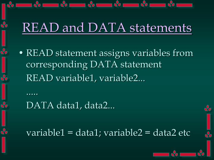 READ and DATA statements