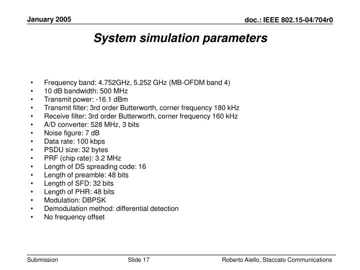System simulation parameters
