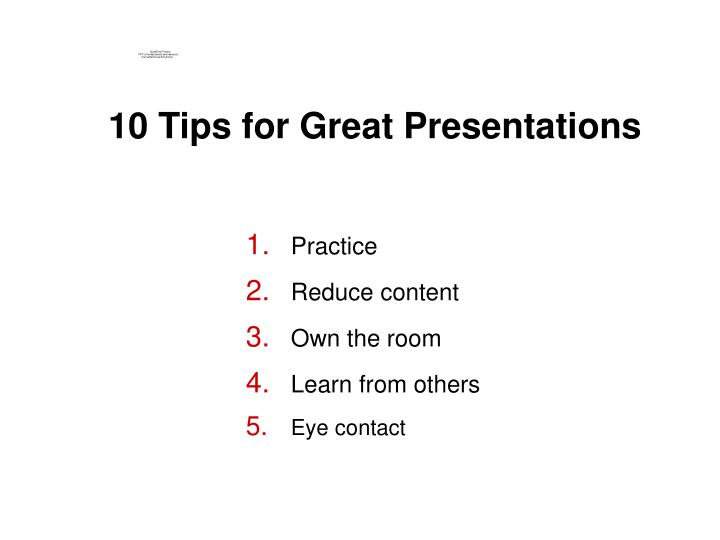 10 Tips for Great Presentations