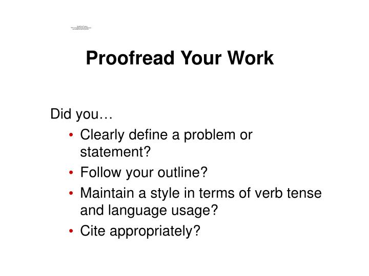 Proofread Your Work