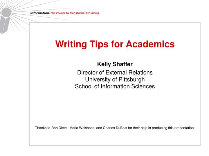 Writing Tips for Academics