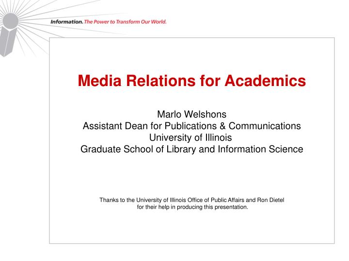 Media Relations for Academics