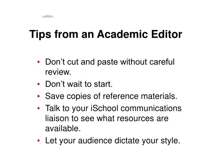 Tips from an Academic Editor