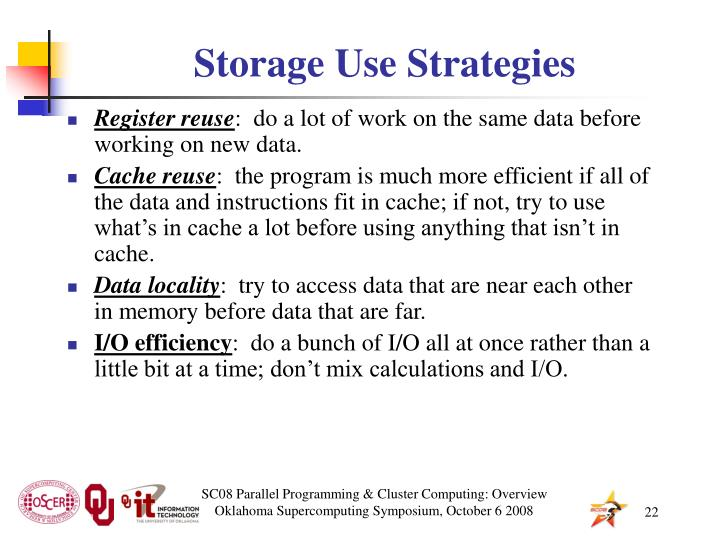 Storage Use Strategies