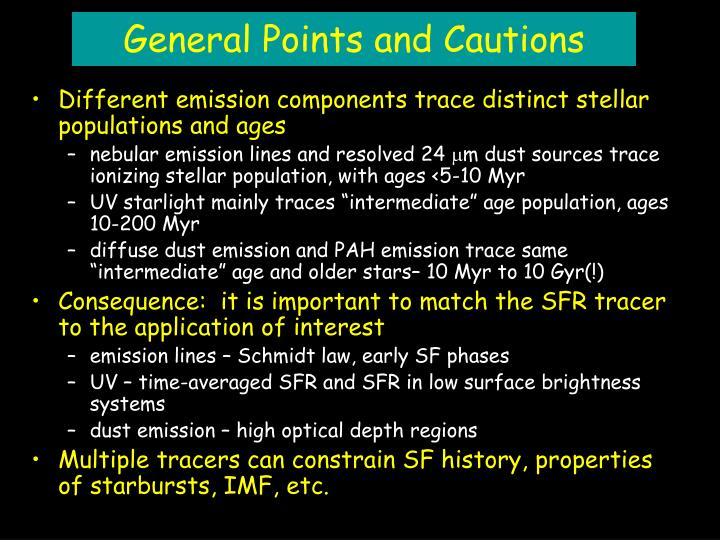General Points and Cautions