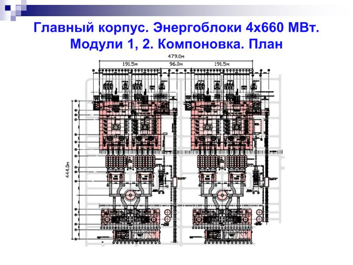 Главный корпус. Энергоблоки 4х660 МВт.