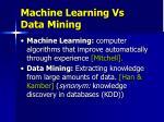 machine learning vs data mining