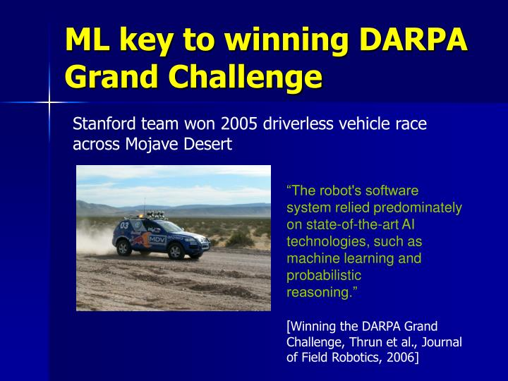 ML key to winning DARPA Grand Challenge