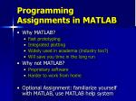 programming assignments in matlab