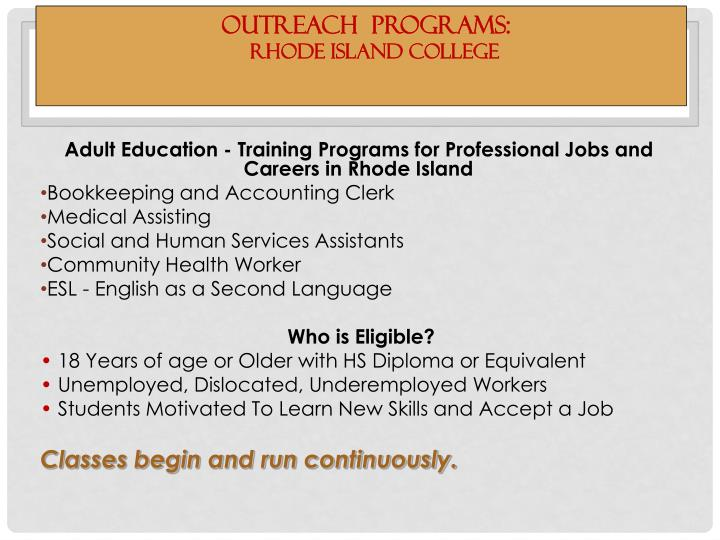 Outreach programs rhode island college