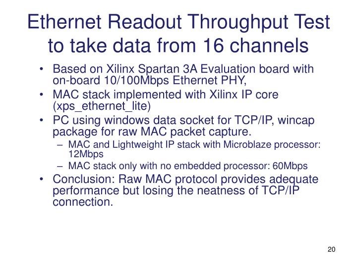 Ethernet Readout Throughput Test to take data from 16 channels