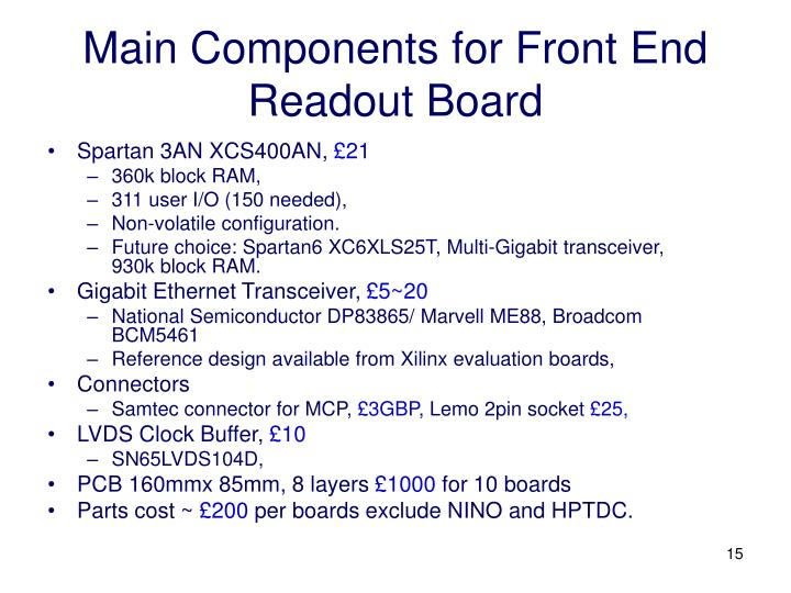 Main Components for Front End Readout Board