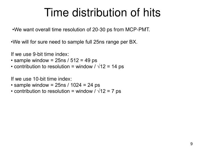 Time distribution of hits