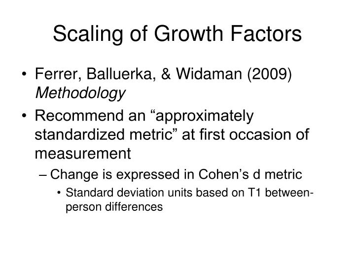 Scaling of Growth Factors