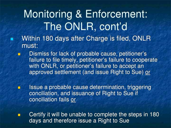 Monitoring & Enforcement: