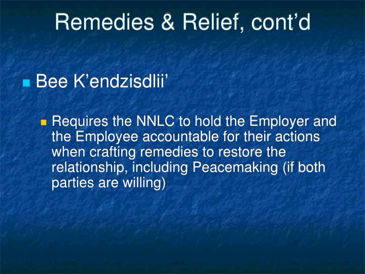 Remedies & Relief, cont'd