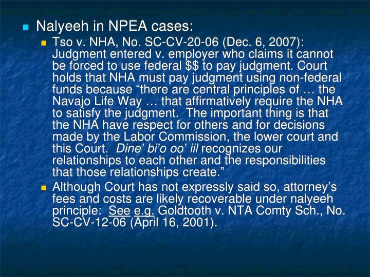 Nalyeeh in NPEA cases: