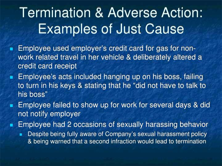 Termination & Adverse Action:  Examples of Just Cause