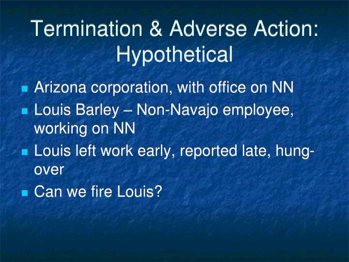 Termination & Adverse Action:  Hypothetical