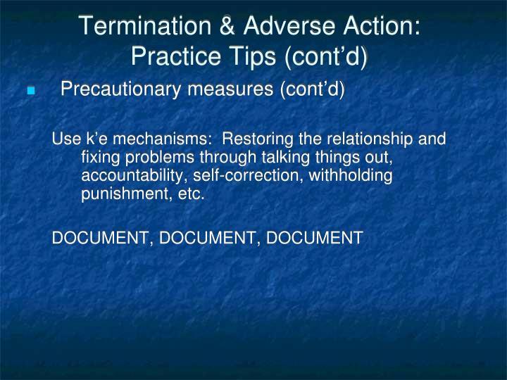 Termination & Adverse Action: