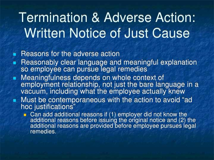 Termination & Adverse Action:  Written Notice of Just Cause