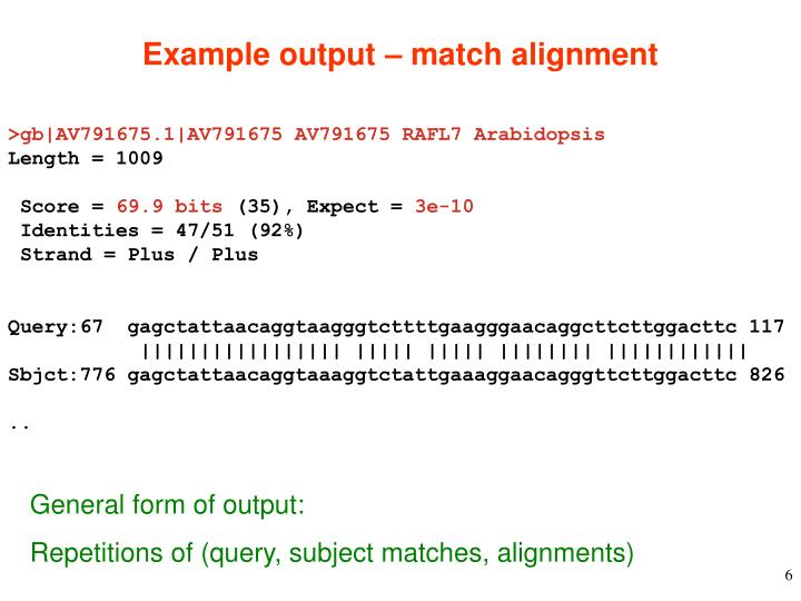 Example output – match alignment