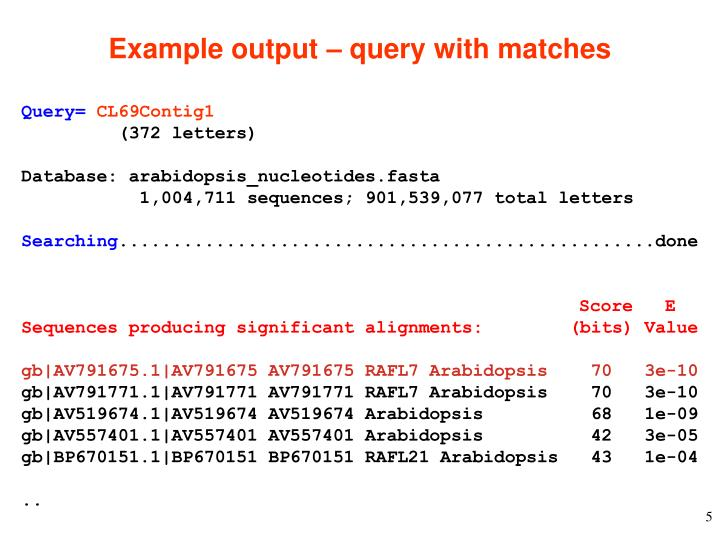 Example output – query with matches