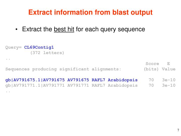 Extract information from blast output