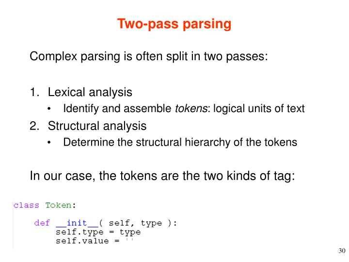 Two-pass parsing