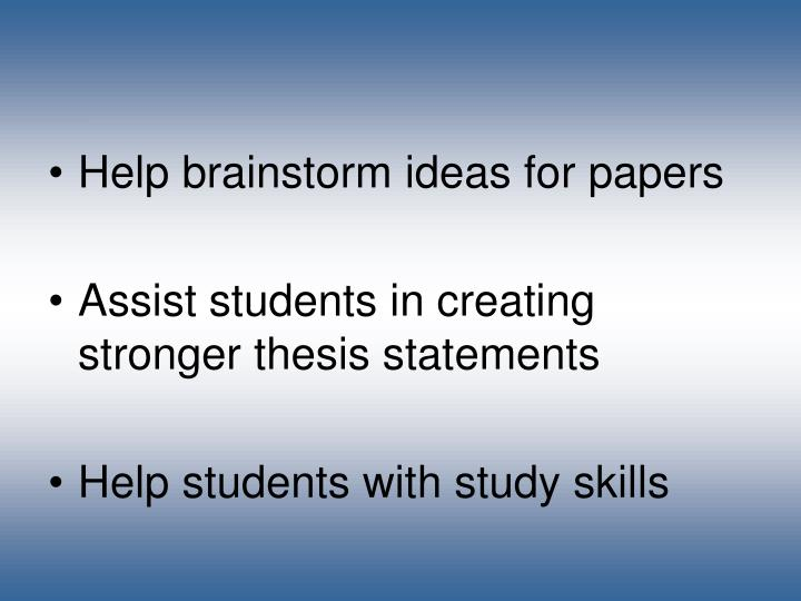Help brainstorm ideas for papers